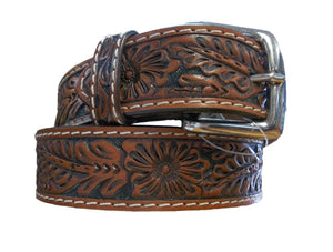 Floral Tooled Belt w/black background