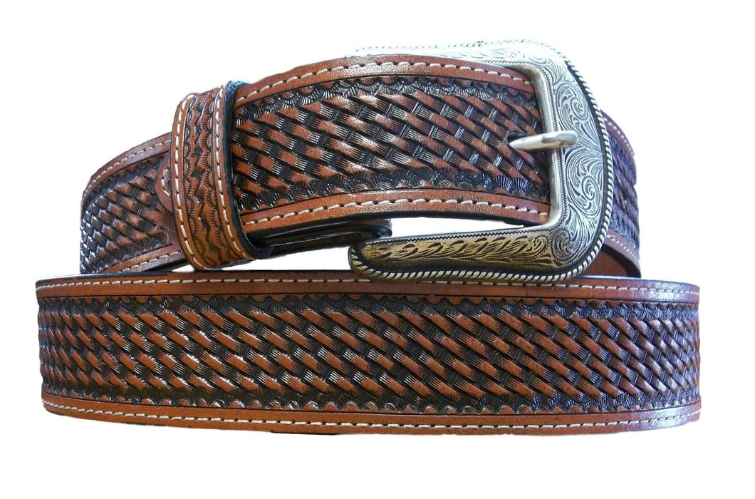 Tooled Belt With Longhorns & Stars