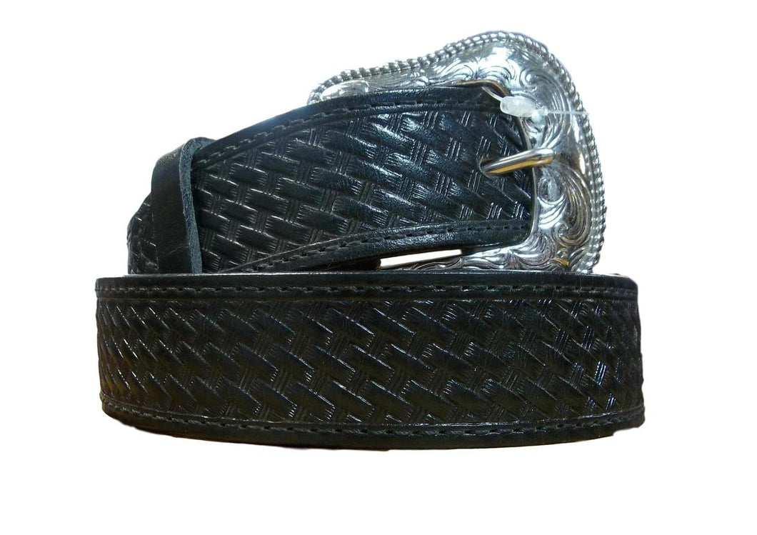 Mens Black Basketweave Belt
