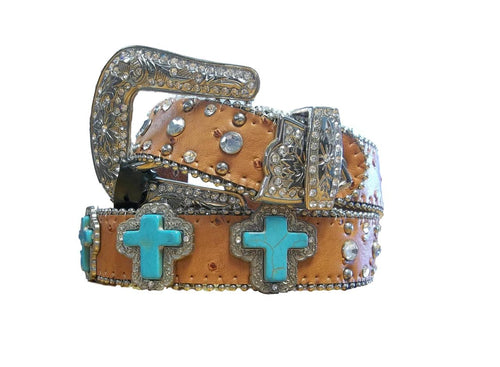 Girls Brown Leather Belt with Turquoise Stone Crosses