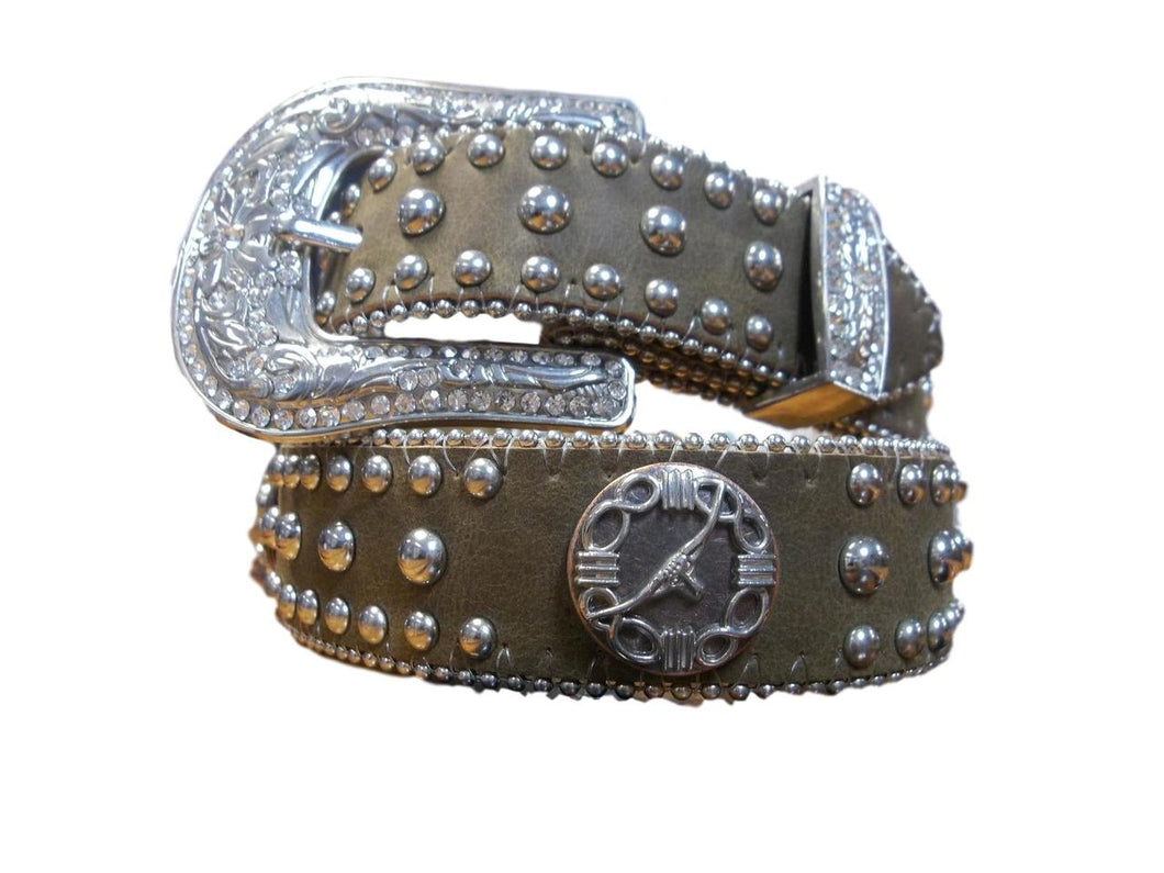Brown Belt w/Long Horn Steer Conchos