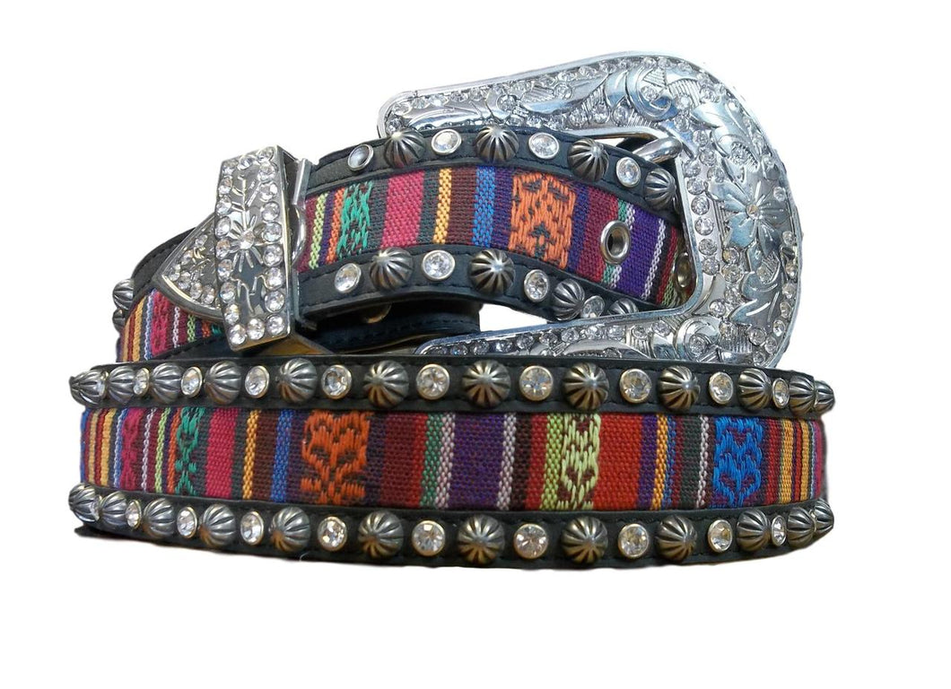 Women's Stitched Inlay Bling Belt