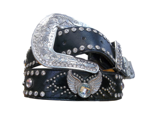 Women's Black Winged Bling Belt