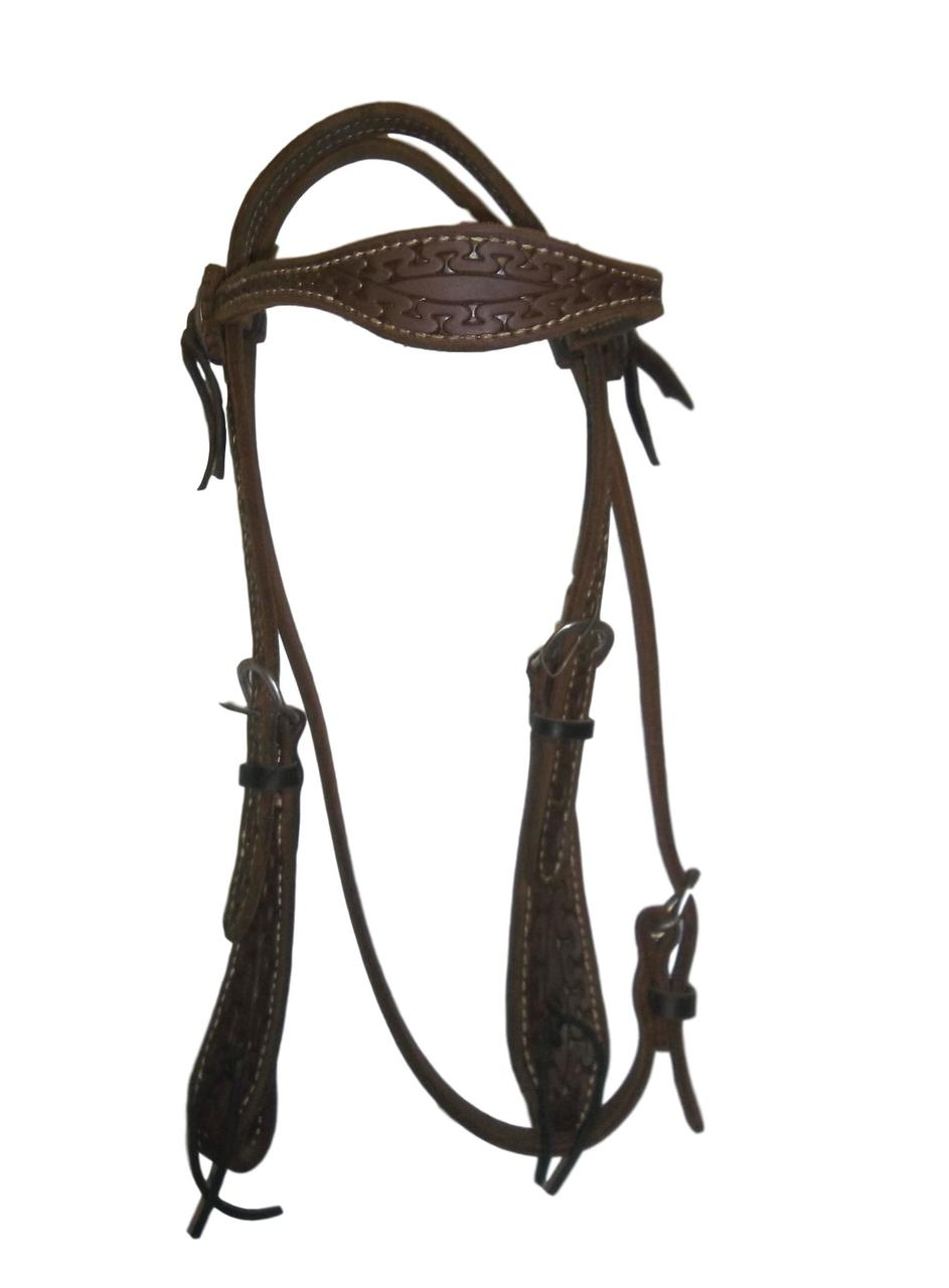 HR Scalloped Browband Snake Tooled Headstall