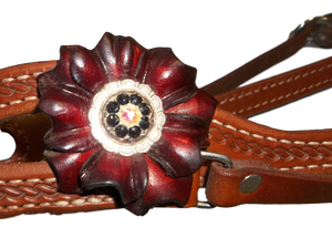 HR Courts Headstall With Red Flower