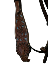 Load image into Gallery viewer, Saddle Barn Floral Turq Filagree Browband