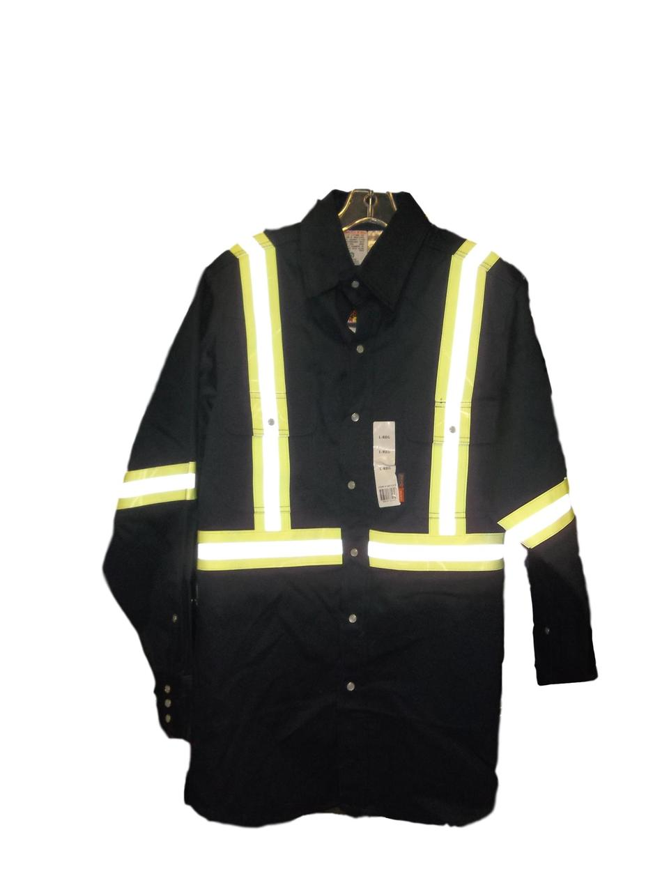 Flame Resistant Navy Light Weight Work Shirt W/Reflective Striping