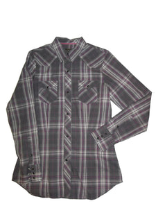 Roper Ladies Gray Purple Plaid Long Sleeve Western Shirt