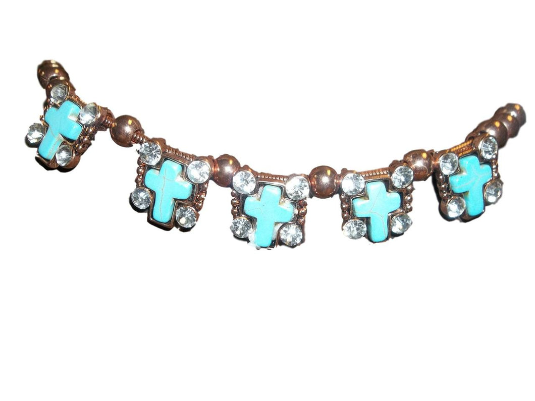 Crooked Fence Turquoise Cross Boot Chain