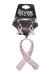 Silver Strike Breast Cancer Necklace and Earing Set