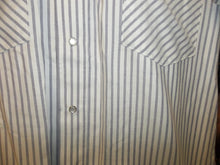 Load image into Gallery viewer, Blue & White Stripe Short Sleeve Pearl Snap Shirt