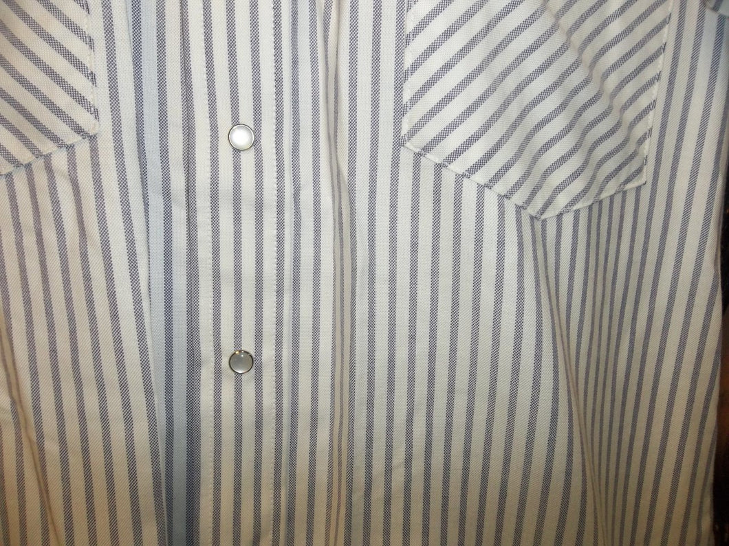 Blue & White Stripe Short Sleeve Pearl Snap Shirt