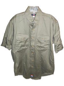 Dark Olive Short Sleeve Shirt with Double Button Pockets