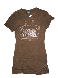 Genuine Cowgirl Brown Burnout Tee