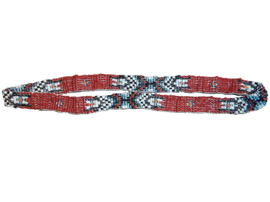 M&F Red Beaded Indian Hat Band 02754
