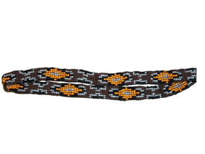"M&F Western Hatband Unique Stretch Beaded Brown 1/2"" Yellow 02752"