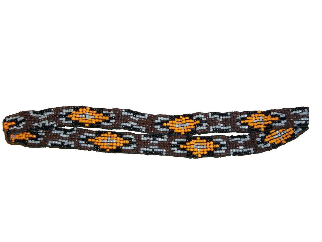 M&F Western Hatband Unique Stretch Beaded Brown 1/2