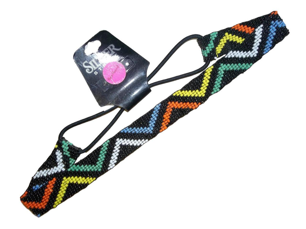 3D Belt Co Silver Strike Black Multi Colored Elastic Headband, CHB150415