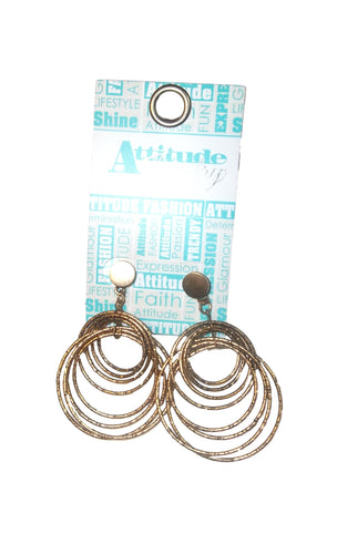 Attitude Jewelry Gold Multi-ring Dangle Earrings