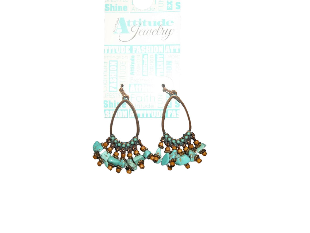 Attitude Turquoise Fringe Teardrop Earrings