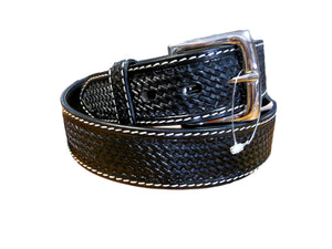 Mens Black Basketweave Belt w/white stitching