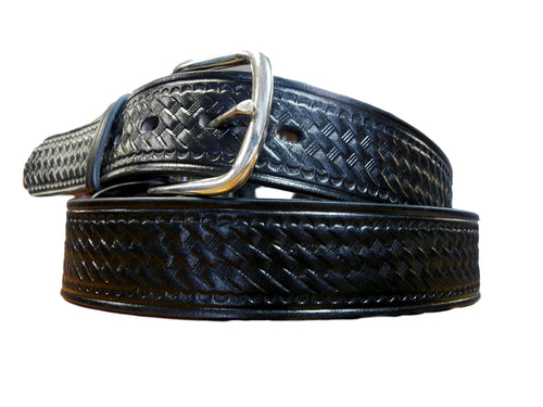 Mens Black Basketweave Belt w/scalloped edges
