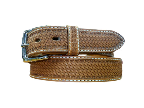 Mens Brown Basketweave Belt w/scalloped edges