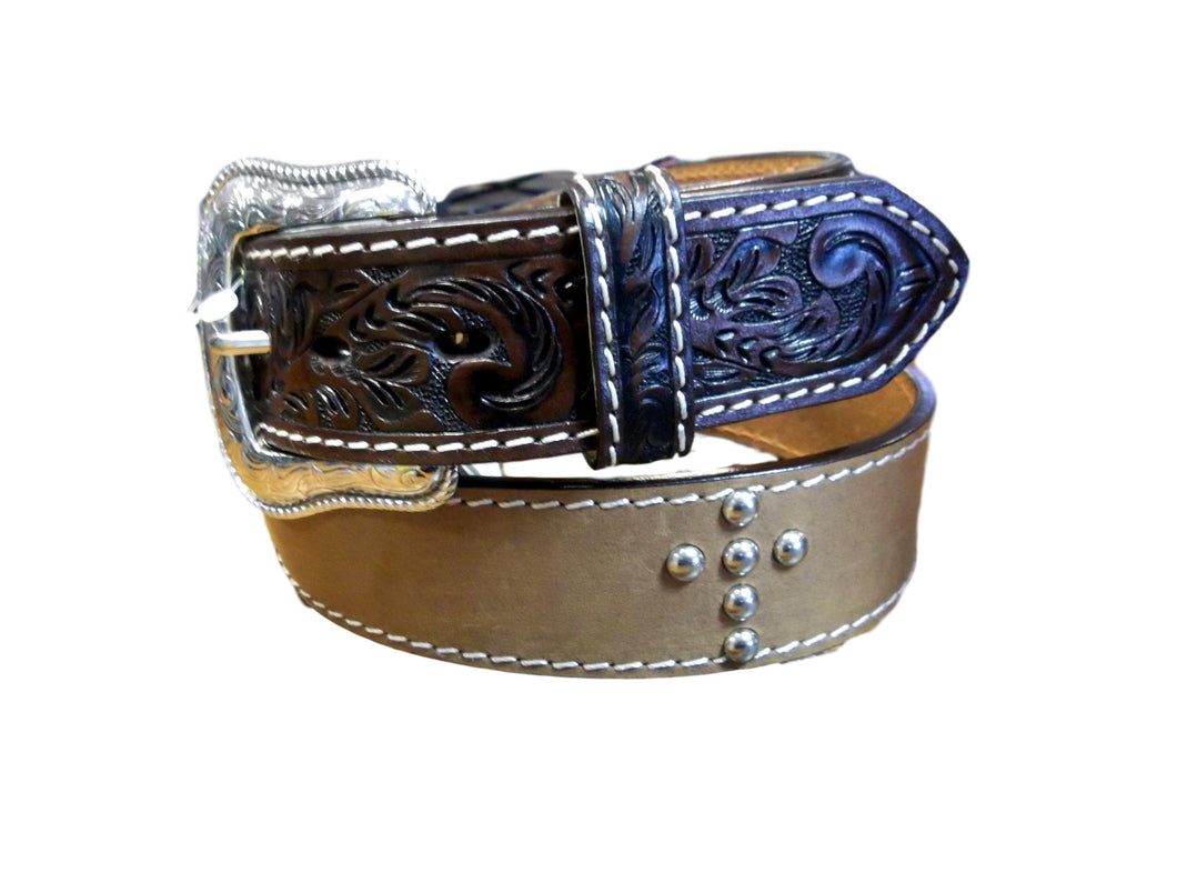 Men's Belt with Silver Crosses