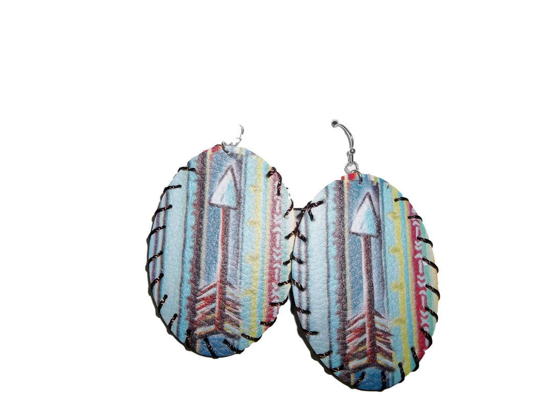 Teal Serape Arrow Earrings
