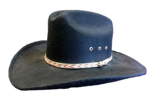Kids Black Faux Felt Cowboy Hat