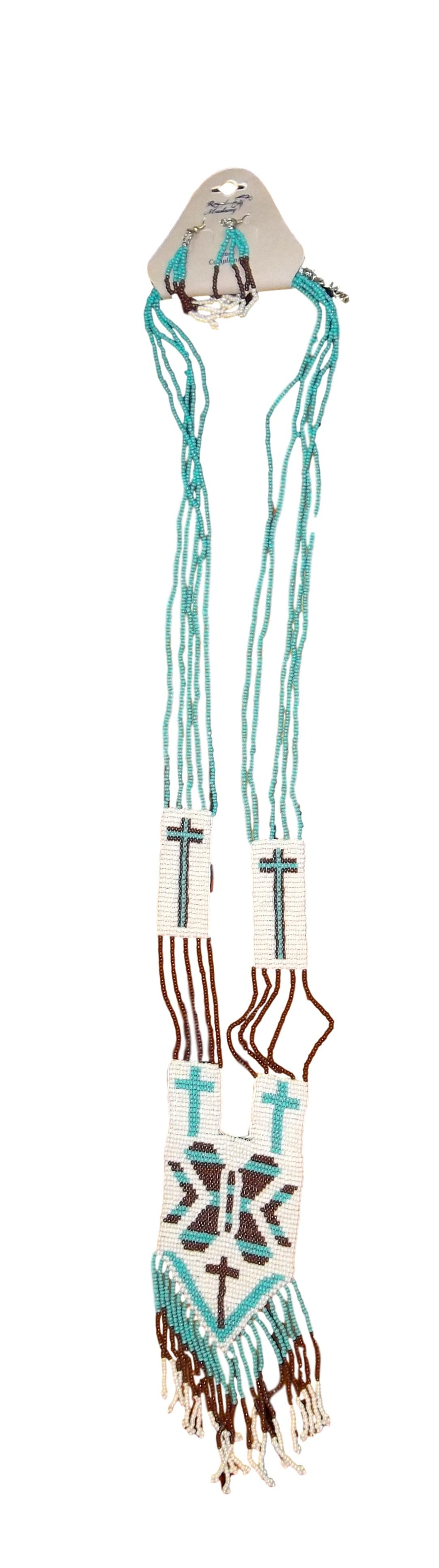 Long Teal/Brown/White Necklace