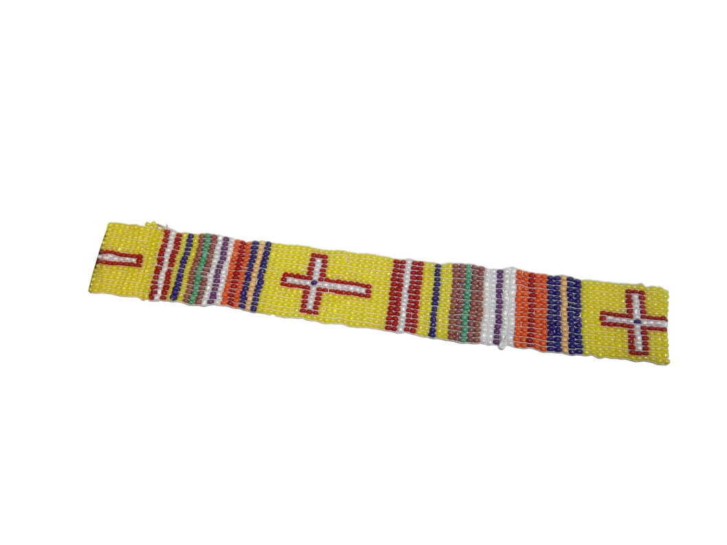 Stripes & Crosses Beaded Headband