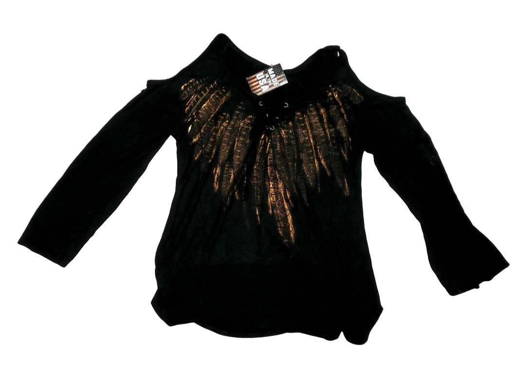 Women's Off The Shoulder Black & Gold Blouse