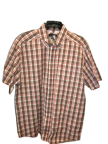 Ariat Pro Men's Red/Brown Short Sleeve Western Shirt