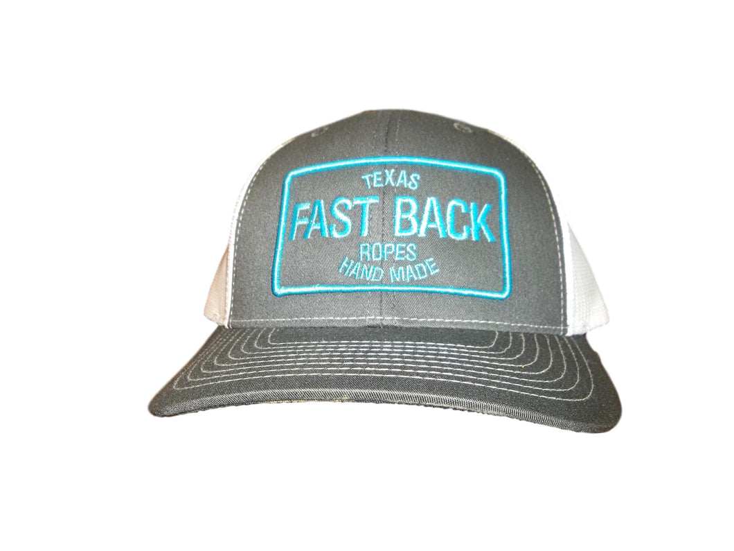 Fastback Grey, White, & Turquoise Rectangle Patch Ball Cap