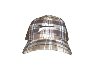 Fastback Brown Plaid Mesh Back Ball Cap