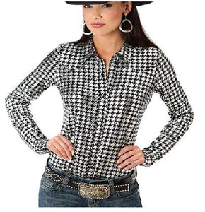 Roper Womens Shiny Houndstooth Print Shirt