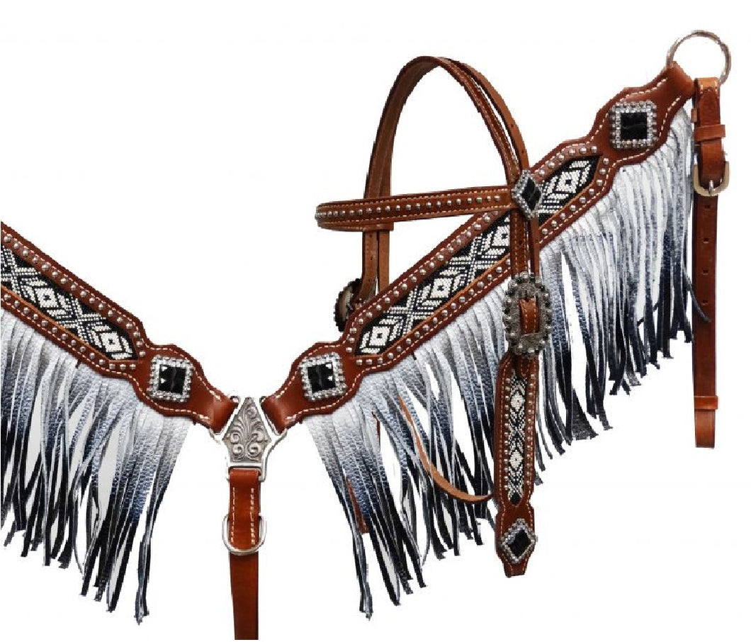 Black & White Beaded Tack Set With Fringe