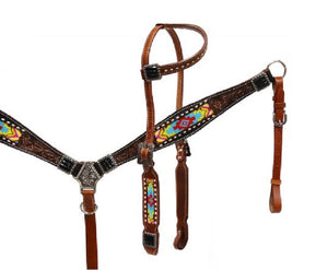 1 Ear Beaded Headstall W/Reins