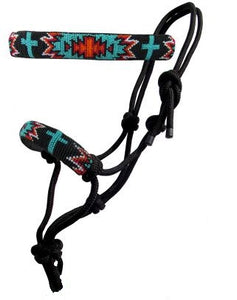 Turquoise and Red Navajo Cross Beaded Nose Rope Halter