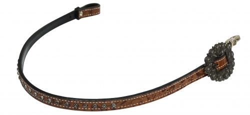 Studded brown filigree wither strap