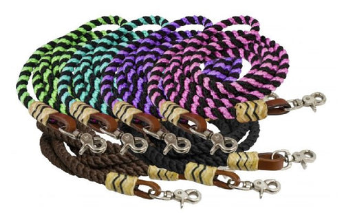 8ft Rolled Braided Nylon Reins with Rawhide