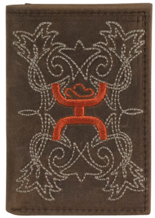 HOOEY VINTAGE BROWN EMBROIDERY TRI-FOLD WALLET