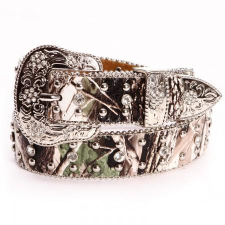 Angel Ranch Girls Rhinestone Leather Belt Camo