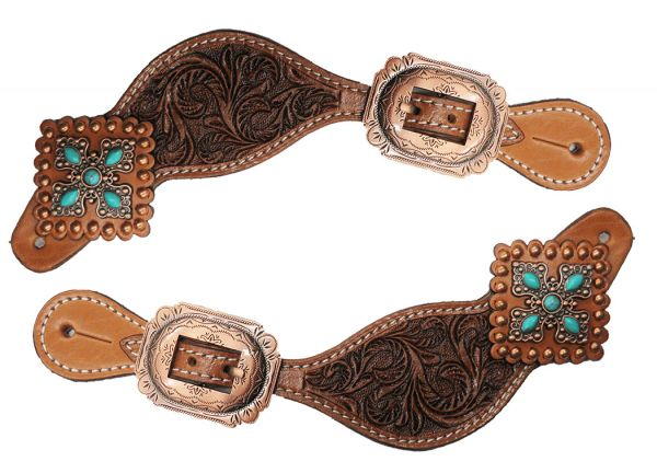 Ladies Tooled Leather Spur Straps with Vintage Turquoise Stone Conchos