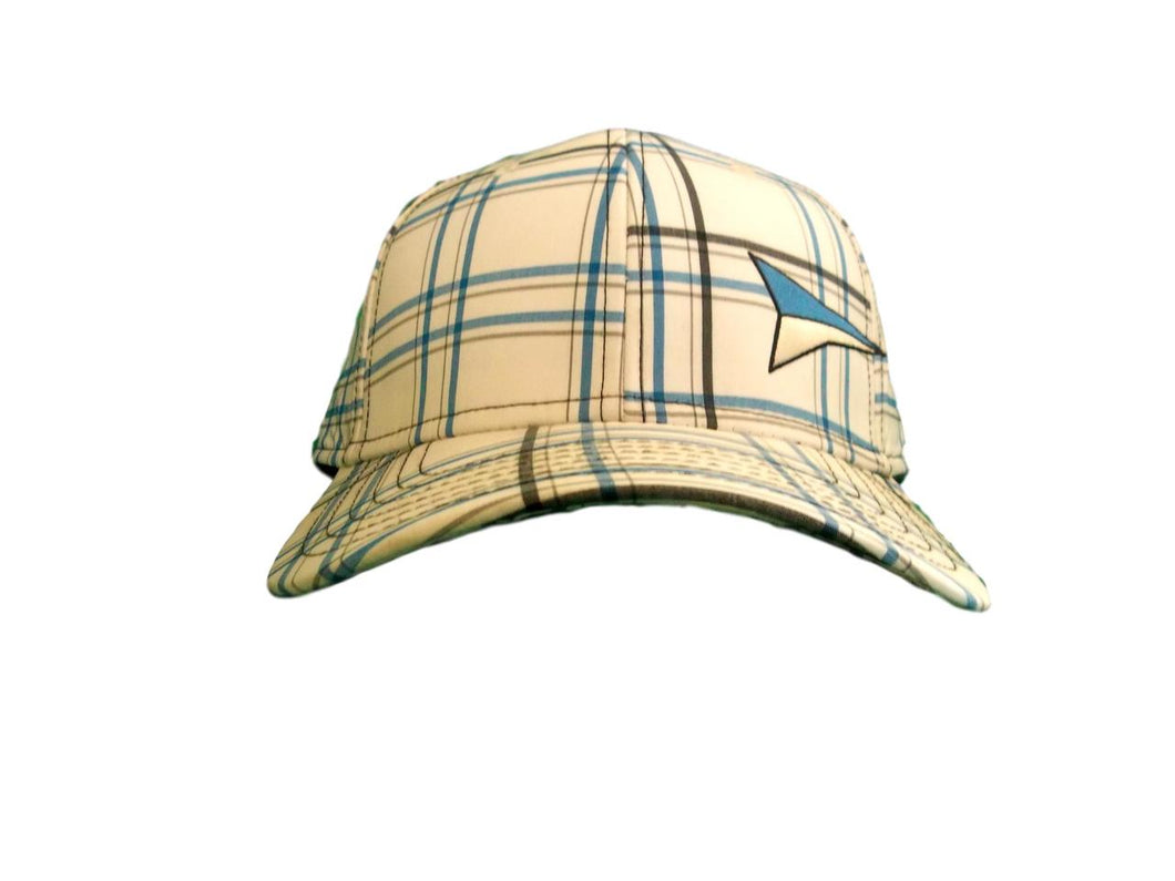 Fast Back White w/Blue Plaid Fitted Ball Cap