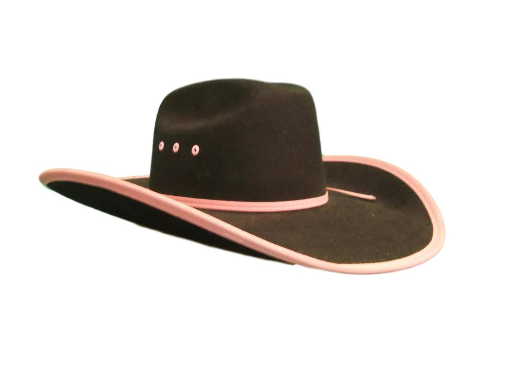 Black Felt Cowboy Hat with Pink Edge Kids