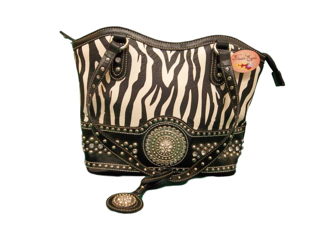 Blazin Roxx Zebra Stripe Shoulder Bag