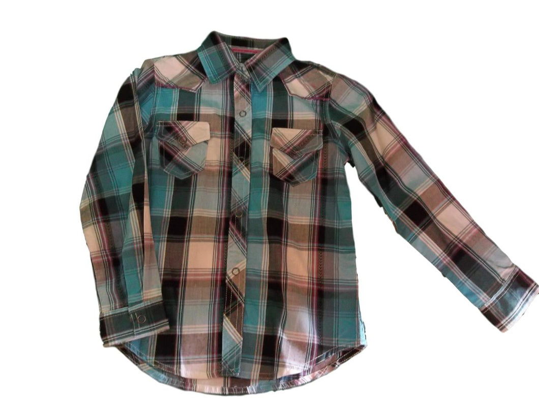 Roper Girl's Dobby Turq Plaid Shirt