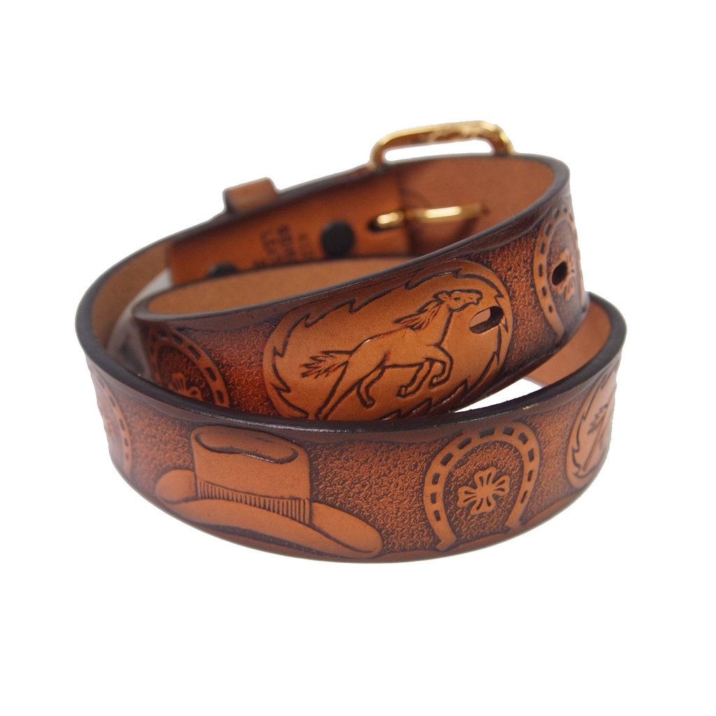 Western Tooled Kids Belt